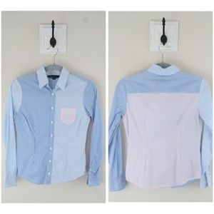 Brooks Brothers Color Blocked Striped Button Down